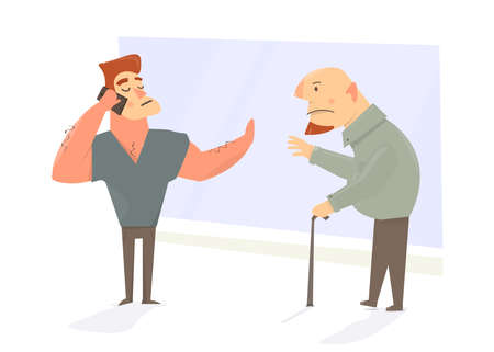 Funny cartoon character security. Guard forbids to enter the old man. Comic style.