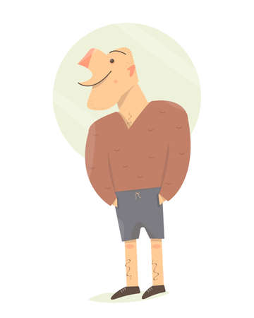 Messy country guy. Cartoon character fun man. Standing there smiling.