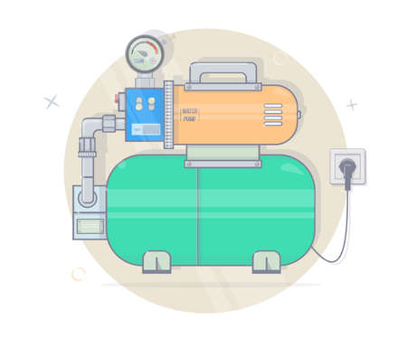 Illustration Pumping Station. For Online Store Of Plumbing. Cartoon ...
