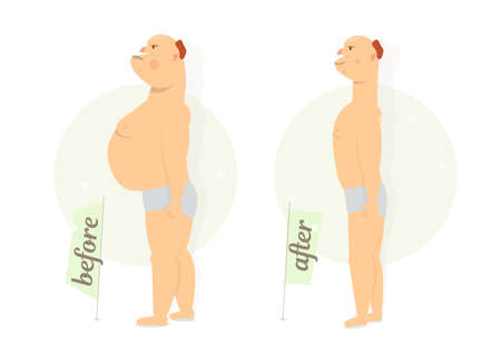 Fat funny man before and after Cartoon character comic style vector illustration Illustration