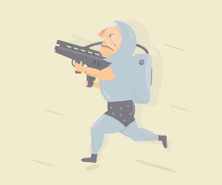 Funny astronaut with blaster gun. Children animator. Cartoon character humor style.