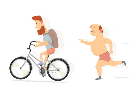 Bicycle, bearded guy character. Funny man in a rage runs and threatens with a finger.