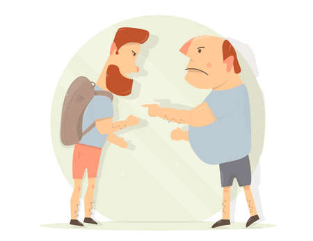 Dispute between two men. Generation gap. Male aggression illustration.