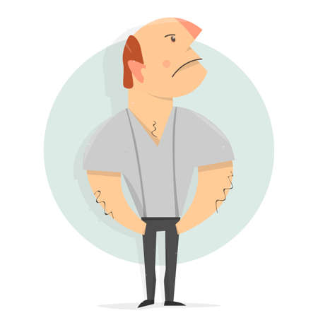 Cartoon character man. Serious man with his head held high. Resentment and hatred on the face. Illustration