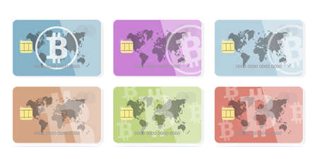 Cryptocurrency collection Set concept of a bank card bitcoin on a different color background