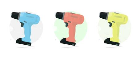 Cordless drill. Set color. Power tool. Cartoon style. Vector illustration.
