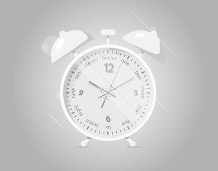Realistic alarm clock. Dark background.  Animation style.