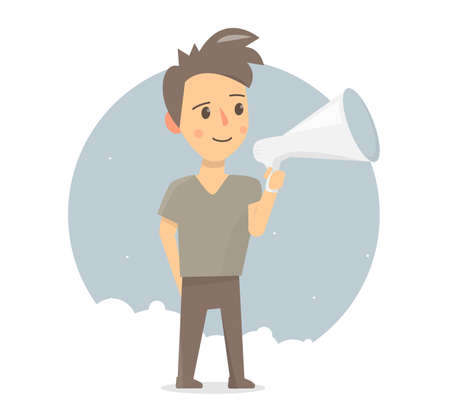 Boy with megaphone. Announcement or speech. Animation style.