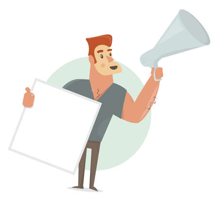 Man says in a megaphone. Holding blank sign. Placard with empty space for text. Funny animation style. Illustration