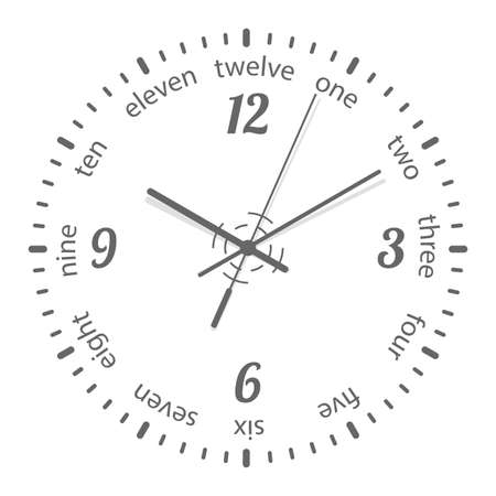 Clock face. Dial plate. Isolated on white background.