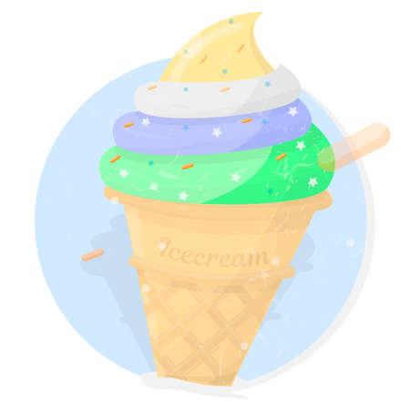 Ice cream. Bright dessert icon. Cartoon style. Illustration for cafe menu, sign or logo.