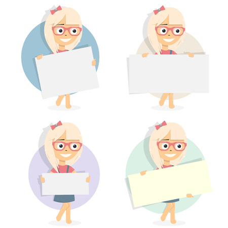 Girl holding blank board. For web site, mobile app. Cartoon character.