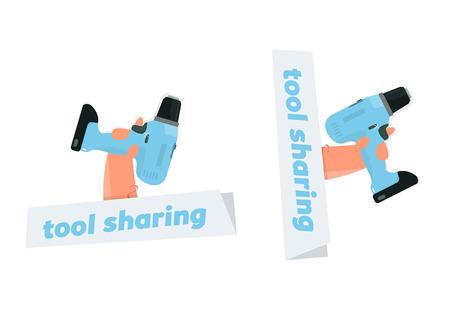 Tool sharing, instrument rental. Logo drill in hand. Illustration