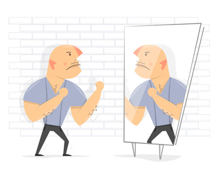 Fight with yourself. Angry man in front of a mirror. Illustration