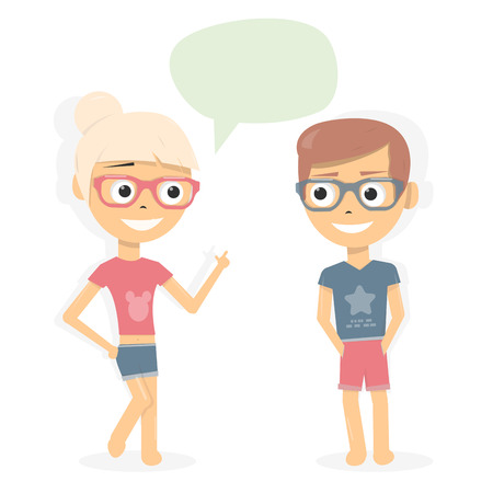 Boy and girl talking. Dialogue of young people. Cartoon characters on white background.