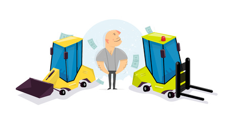 Funny cartoon loader. Make money on the machinery. Construction and logistics.  Cartoon character comic style.