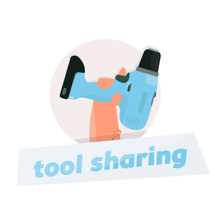 Instrument rental. Logo drill in hand. Tool sharing.