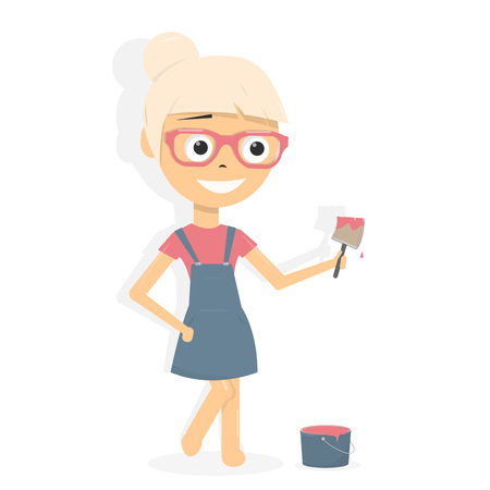 Female painter in uniform. Girl with paint brush and bucket, house renovation concept.