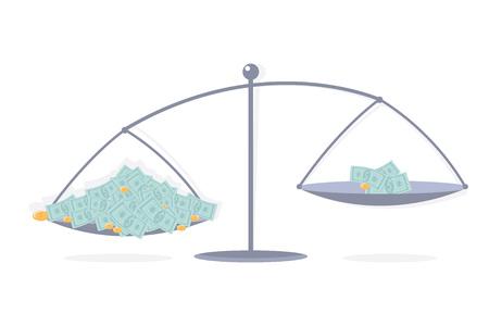 Allocation money. Scales. Inequitable distribution.