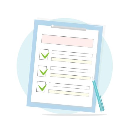 Claim form with pen and checklist icon. Vector illustration.