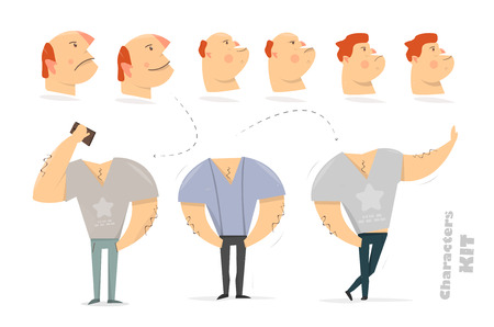 Man character creation set for animation. Guy acting using smartphone. Parts body template. Different emotions and poses. Vector illustration.
