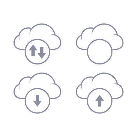 Cloud download and upload icon. Up and down arrows. Linear illustration. Illustration