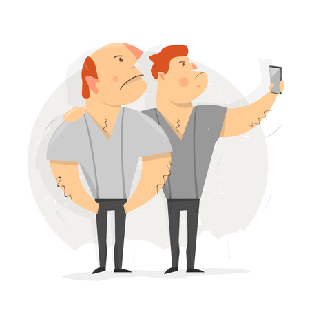 Two man taking selfie photo. Vector Illustration. Cartoon character funny and comic style. Illustration