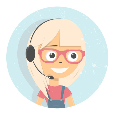 Advises client customer support group icon. Online consultants girl. Vector illustration.