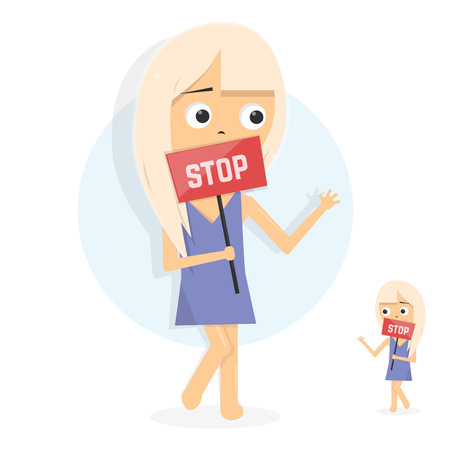 Young girl holding placard with STOP sign.  Hazard warning. Funny animation style.