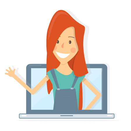 Happy operator on the laptop screen. Consultation work online, Internet. Call-center. Animation style.