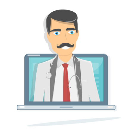 Online doctor. Medical consultation and support. Laptop screen.