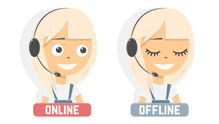 Online consultant girl. Advises client.  Customer support service.