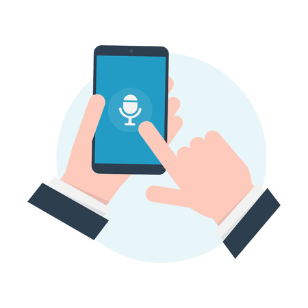 Voice recognition. Intelligent personal assistant. Phone in the hand. Sound recording. Illustration