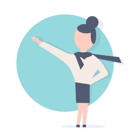 Girl guides. Woman pointing, showing copy space. Minimalistic style.