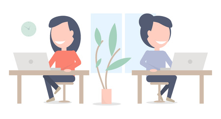 Girls work in the office. Coworking illustration. Working cabinet. Illustration