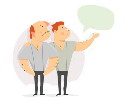 Men show on empty space. Man speech bubble making an announcement. Cartoon character. Illustration