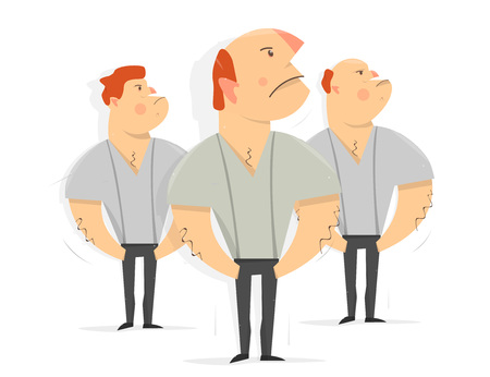 Serious men, workers. Tough guy. Cartoon character funny and comic style. Illustration