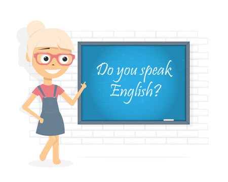 Do you speak English. Question. Woman points her finger at the  chalkboard. Cartoon character girl. Vector illustration. Illustration