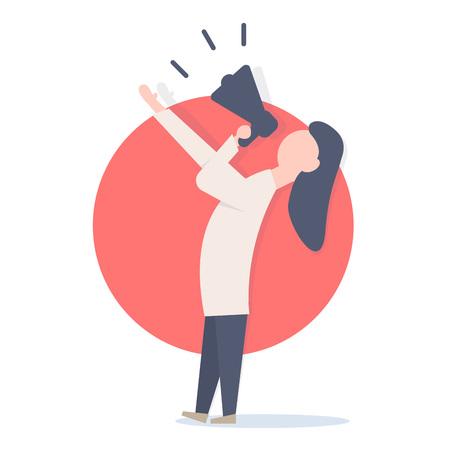 Woman screaming in megaphone.  Minimalistic illustration.