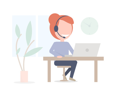 Online consultant girl. Call center worker by computer. Minimalistic illustration. Illustration