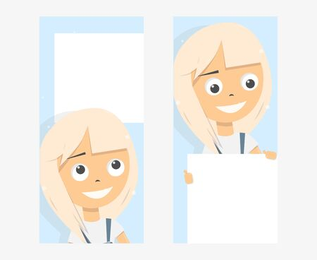 Banner on the phone screen, templates. Girl holding blank board. Cartoon character. Stories photo frame.