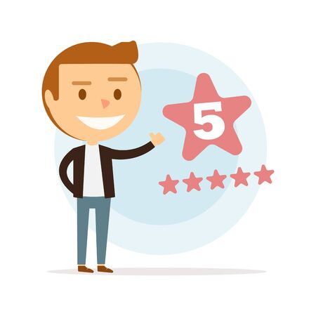 Happy young man puts five stars.