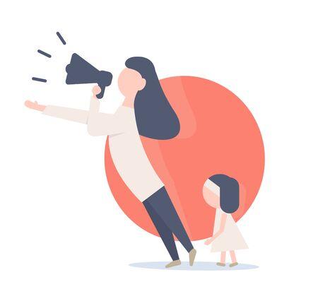 Mother defends her rights. Illustration