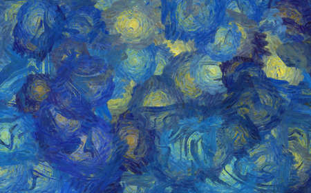 Abstract texture background. Digital painting in Vincent Van Gogh style artwork. Hand drawn artistic pattern. Modern art. Good for printed pictures, postcards, posters or wallpapers and textile print. Imagens