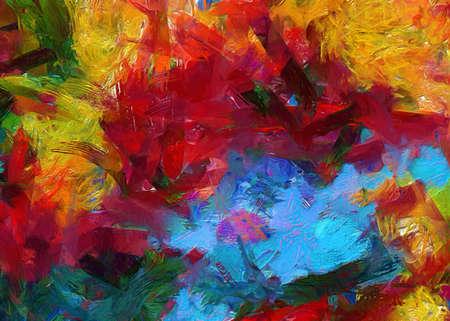 Muur kunst. Kunstposter. Voorraad. Abstract schilderij in olieverf. Patroon voor het maken van een ontwerpbriefkaart, uitnodiging, web of banner. Canvasafdrukken. Aquarel en acryl gemengde moderne tekening. Impressionistische stijl. Stockfoto