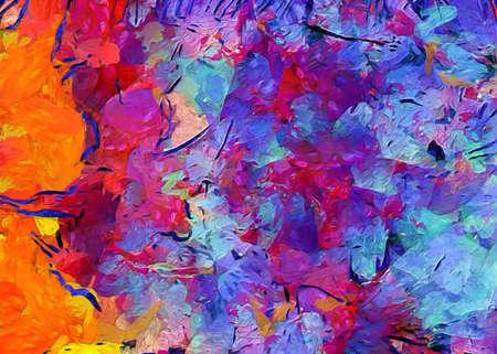 Dipinto ad olio arte astratta in vendita. Motivo di sfondo per la stampa creativa commerciale o produzione pubblicitaria o banner web, design di inviti. Azione. Opera d'arte contemporanea della decorazione della parete dell'impressionismo.