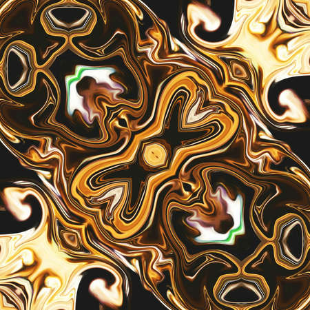 Abstract liquid gold graphic painting background. Back pattern for create rich and luxury production, card, invitation, album cover or poster design. Fashion golden fractal artwork. Digital art.