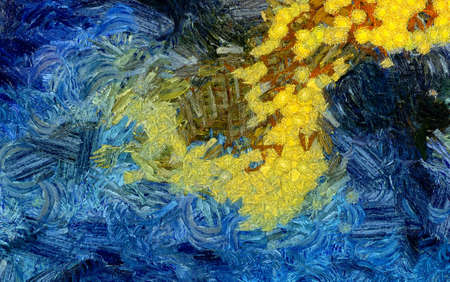 Impressionism wall art print. Vincent Van Gogh style expressionism oil painting. Swirl splashes. Surrealism artwork. Abstract artistic background. Real brush strokes on canvas. Contemporary fine art. Archivio Fotografico - 122088382