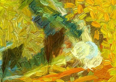 Trendiger abstrakter Malerei-Ölhintergrund. Wandkunstdruck zu verkaufen. Kreatives Muster des Grafikdesigns. Sehr farbenfrohe und helle handgemachte Textur. Impressionismus-Zeichnung auf Leinwand. Lager. Einzigartige Tapete. Standard-Bild
