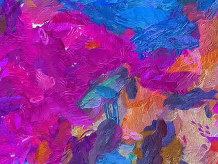 Trendy abstract painting oil background. Wall art print for sale. Graphic design creative pattern. Very colorful and bright handmade texture. Impressionism drawing on canvas. Stock. Unique wallpaper.